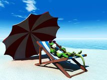Cool Cartoon Gecko Relaxing On The Beach. Royalty Free Stock Photo