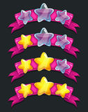 Cool cartoon glassy stars on pink ribbon Stock Photos