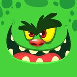 Cool Cartoon Green Monster Face. Vector Halloween illustration of excited zombie monster with wide smile. stock illustration