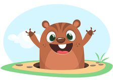 Cool cartoon marmot or chipmunk or humster in major hat waving his hands looking out of its borrow on spring background. Vector vector illustration