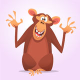 Cool cartoon monkey character icon. Vector illustration. Cool cartoon monkey character icon. Wild animal collection. Chimpanzee mascot waving hand and presenting vector illustration