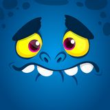 Cool cartoon monster face avatar. Vector Halloween blue monster illustration.  vector illustration