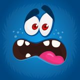 Cool cartoon monster with scared face avatar. Vector Halloween blue monster illustration.  royalty free illustration