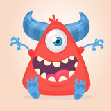 Cool cartoon red monster. Vector horned one eye cyclops monster screaming. Cool cartoon red monster. Vector horned one eye cyclops monster screaming Stock Photos