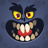 Cool Cartoon Scary Black Monster Face. Vector Halloween illustration of mad monster avatar. stock image