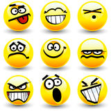 Cool cartoon smiles, emoticons. Nine yellow cool cartoon smiles, emoticons Royalty Free Stock Photo
