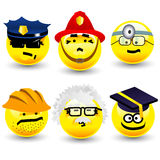 Cool cartoon smiles, professions. Six yellow cool cartoon professions, emoticons vector illustration