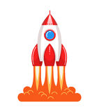 Cool cartoon style launching rocket with flame Stock Image