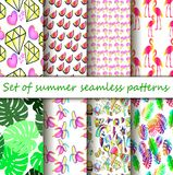 Cool cartoon summer patterns ready for print. A large collection of summer seamless patterns ready for printing. Neon cartoon patterns - the trend of the season Stock Photos