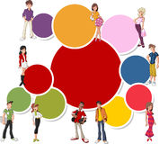 Cool cartoon young people Royalty Free Stock Image