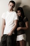 Cool casual young couple. Young couple pose wearing casual outfits Stock Photo