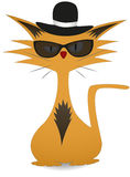 Cool Cat. Cool gangster cartoon cat illustration with sunglasses and a hat Royalty Free Stock Photos