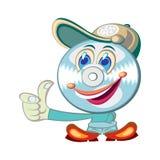 Cool CD-face cartoon character Stock Photography