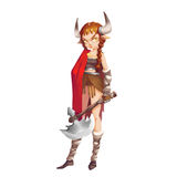 Cool Characters Series: Wild Savage Viking Girl Warrior isolated on White Background. Video Game`s Digital CG Artwork, Concept Illustration, Realistic Cartoon Royalty Free Stock Photo