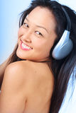 Cool chick listening to music Stock Photos