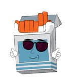 Cool cigaretes pack cartoon Stock Images