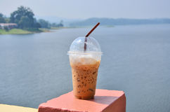 Cool coffee for drink. Plastic glass of cool coffee with nature Stock Images