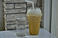 Cool coffee glasses. Water glass and cold coffee glass Royalty Free Stock Photo