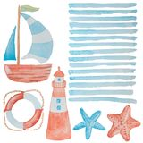 Cool collection of marine elements painted in red and blue water vector illustration