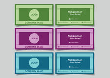 Cool Color Business Name Card with 3D Frame Design Mockup Set Ve Stock Photos