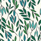 Cool colors over all leaves print seamless pattern stock illustration
