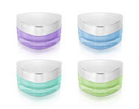 Cool color triangle cosmetic jar on white Stock Photos
