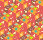 Modern colorful geometric background with Christmas symbols. Cool colorful isometric background with snowflakes, deers and trees, Christmas symbols. for stock illustration