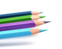 Cool colour pencils closeup royalty free stock image