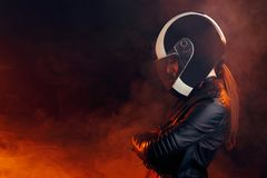 Biker Woman with Helmet and Leather Outfit Portrait stock images