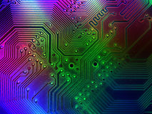 Cool Computer Parts Background. Abstract perspective on computer parts - a motherboard has been digitally altered to produce this colorful effect stock illustration