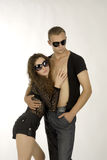 Cool couple. There is cool couple hold each other royalty free stock photos