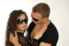 Cool couple. There is cool couple hold each other royalty free stock photography