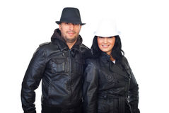 Cool couple in leather jackets Royalty Free Stock Photo