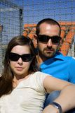 Cool couple portrait. Cool couple with sunglasses landscape Stock Photo