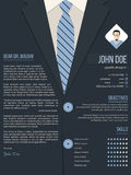 Cool cover letter resume template with business suit background Royalty Free Stock Images