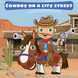 Cool cowboy with guns on a city street Wild West Stock Image