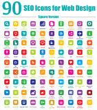 90 SEO Icons for Web Design - Square Version Stock Photos