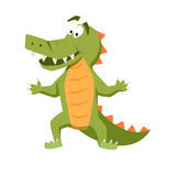 Cool crocodile. Funny monster. Print. Cute vector illustration. Comic sea character Royalty Free Stock Images