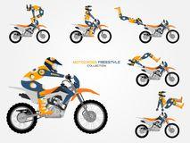 Crossbike set. Different crossbike tricks, flat style. Cool crossbike set. Different tricks, poses. No gradients, easy color change. Able to create new poses Royalty Free Stock Photography