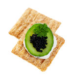 Cool Cucumber and Caviar Cracker Royalty Free Stock Photo