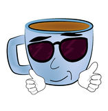 Cool Cup of coffee cartoon Royalty Free Stock Image