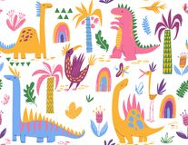 Cool Cute colorful seamless pattern with dinosaurs royalty free illustration