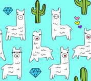 Cool and cute lama animals with diamonds cactus and tiny hearts in aqua background royalty free illustration