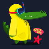 Cool, cute monster crocodiles fnd starfish character. Diver vector illustration