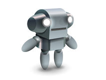 Cool and cute robot from future. Metal baby robot from future in Royalty Free Stock Image