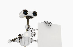 Cool cyborg robot shows on the empty board Stock Images