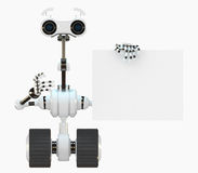 Cool cyborg robot shows on the empty board Royalty Free Stock Photography