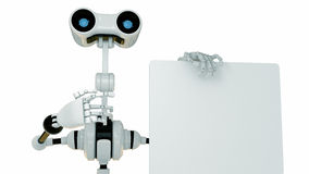 Cool cyborg robot shows on the empty board Stock Image