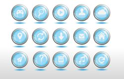 Cool 3d blue website button glossy. Cool 3d blue and silver website button A fully editable and resizable vector, Illustrator EPS 10 file Royalty Free Stock Image