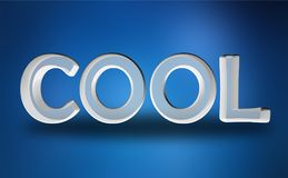 Cool. A 3D cool sign isolated on blue Royalty Free Stock Photos